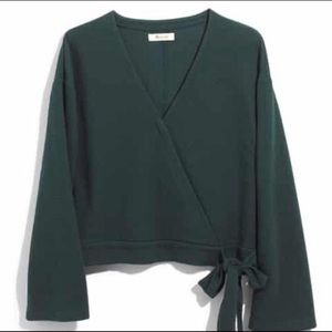Madewell Texture & Thread Green Hunter Wrap Blouse